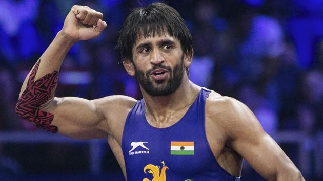 Bajrang Punia reacts after winning the World Championship 2018 semifinal match in Budapest.(PTI)