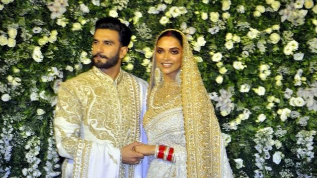 The newlyweds Deepika Padukone and Ranveer Singh at their wedding reception in Mumbai on November 28, 2018.(IANS)