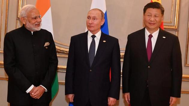 The second trilateral meet among India, Russia and China came after a gap of 12 years, on the sidelines of the G-20 summit to discuss cooperation in various areas.(Twitter/MEA)