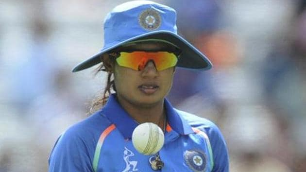 India captain Mithali Raj tosses the ball as she fields during the ICC Women's World Cup 2017.(AP)