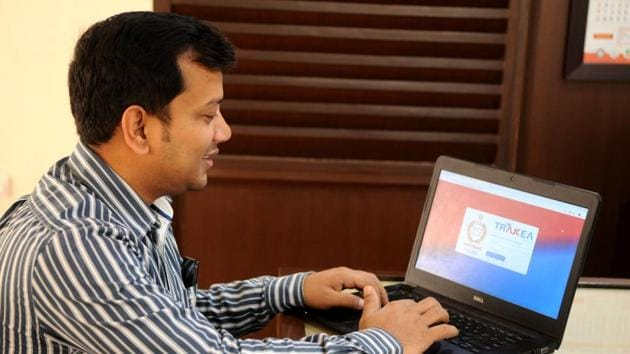 """A 33-year-old Amit Mishra has developed the software called """"Trakea"""" for Haryana jail automation, at district jail, in Gurugram(Parveen Kumar/ HT Photo)"""