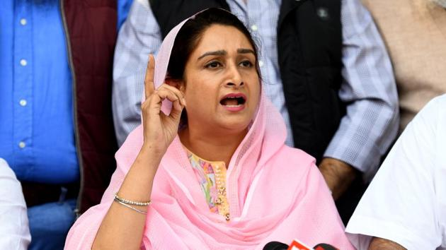 Union Minister Harsimrat Kaur Badal was among the two Union ministers from India who had attended the Kartarpur Corridor ceremony in Pakistan.(Amal KS/HT PHOTO)
