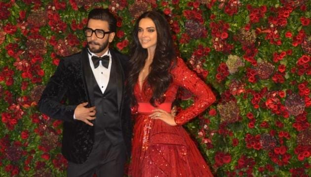 Actors Ranveer Singh and Deepika Padukone at their wedding reception in Mumbai.(IANS)
