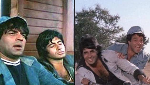 A still from Sholay, Dharmendra's landmark film, also featuring Amitabh Bachchan, Hema Malini and Jaya Bachchan.