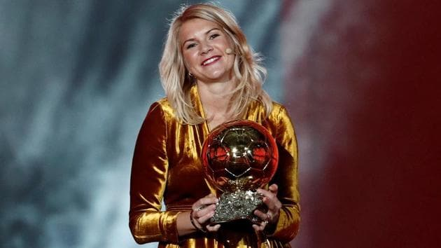 Olympique Lyonnais' Ada Hegerberg with the Women's Ballon d'Or award.(REUTERS)