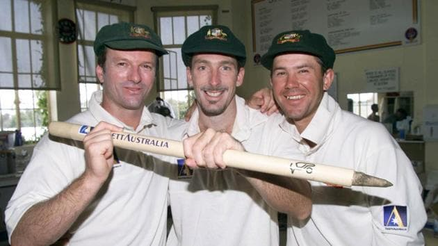 Steve Waugh, Damien Fleming and Ricky Ponting of Australia celebrate in the rooms after the game Waugh and Ponting scored centuries while Fleming took 5 wickets in the second innings, on day five of the first test between Australia and India, at the Adelaide Oval, Adelaide, Australia. Australia won by 285 runs.(Getty Images)