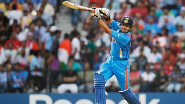 Gautam Gambhir in action in the 2011 ICC World Cup final against Sri Lanka in Mumbai. Gambhir top scored for India with 97 in a chase of 275 as India won the World Cup.(Getty Images)