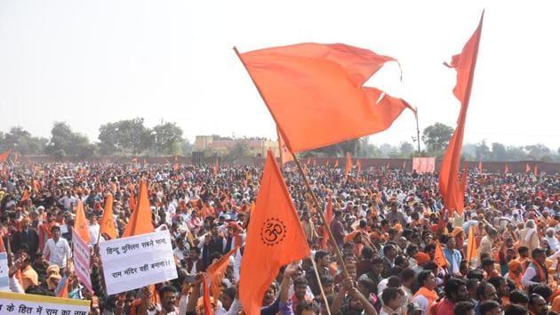 Supporters of Vishwa Hindu Parishad or World Hindu Council and other Hindu organisaions gathered to attend Dharm Sabha, in Ayodhya, Uttar Pradesh.(HT File Photo)