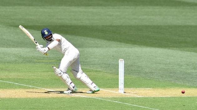 India's Cheteshwar Pujara plays a shot during day one of the first test match between Australia and India at the Adelaide Oval in Adelaide, Australia, December 6, 2018.(REUTERS)