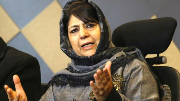 Srinagar, India-December 07, 2018: Former Jammu and Kashmir chief minister and Peoples Democratic Party (PDP) chief Mehbooba Mufti speaks to media during a press conference at her residence, in Srinagar, India, on Friday, December 07, 2018. (Photo by Waseem Andrabi / Hindustan Times)(Waseem Andrabi / Hindustan Times)