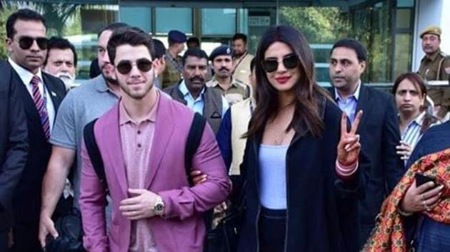 Nick Jonas and Priyanka Chopra arrive in Udaipur for Isha Ambani's wedding festivities.(Viral Bhayani)