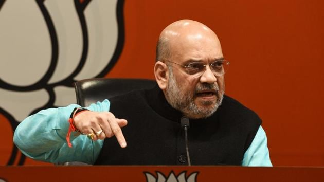 BJP president Amit Shah speaks during a press conference at BJP headquarters, in New Delhi.(Mohd Zakir/HT PHOTO)