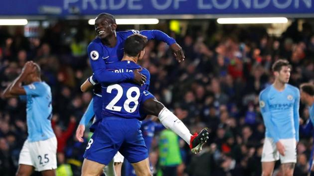 Chelsea's N'Golo Kante celebrates scoring their first goal with Cesar Azpilicueta.(REUTERS)