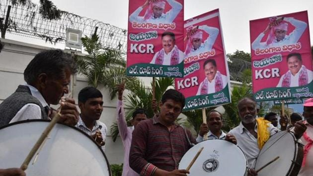 The TRS shot ahead of its closest competitor the Congress in the early rounds of counting in the assembly election results.(HT Photo)