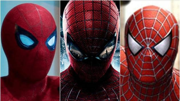 From L: Tom Holland, Andrew Garfield and Tobey Maguire as Spider-Man.