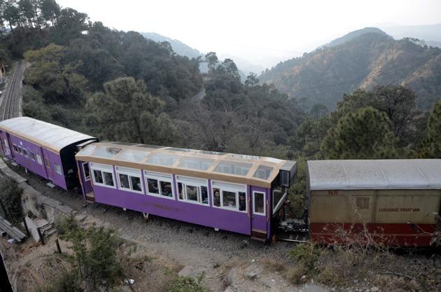Vista transparent dome coach reach Shimla railway station from Kalka on his first regular run on Kalka-Shimla railway track, Shimla.(Deepak Sansta / Hindustan Times)