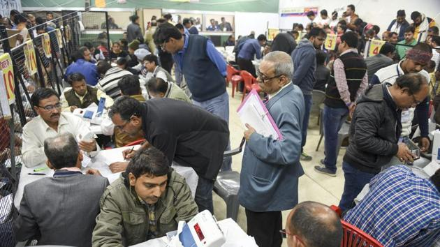 Counting of votes for the Assembly elections in progress at a counting centre in Indore, Madhya Pradesh on Tuesday.(PTI)