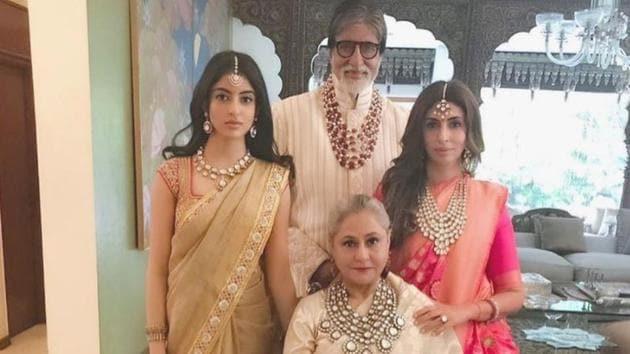 Aishwarya Rai, Navya Naveli, Shweta Bachchan stun in sarees, regal jewellery at...
