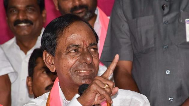 TRS leader K Chandrashekar Rao addresses the media after the party's victory in Assembly elections, in Hyderabad on December 11.(PTI Photo)
