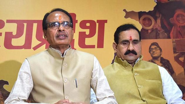 Bhopal: Madhya Pradesh Chief Minister Shivraj Singh Chouhan addresses a press conference at his residence before submitting his resignation to Governor Anandiben Patel, in Bhopal, Wednesday, Dec. 12, 2018. (PTI Photo)(PTI12_12_2018_000083B)(PTI)