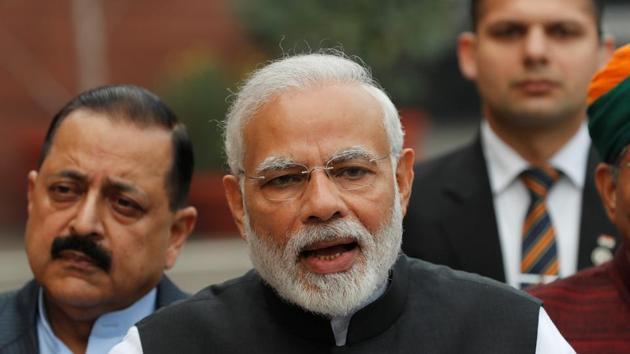 Prime Minister Narendra Modi speaks with the media inside the parliament premises on the first day of the winter session, in New Delhi.(REUTERS)