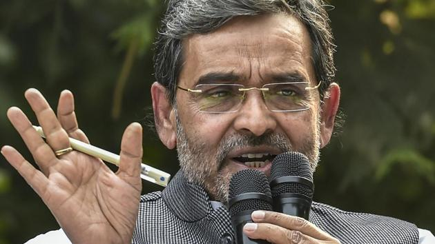 Rashtriya Lok Samata Party (RLSP) chief and Union minister of state for human resource development, Upendra Kushwaha addresses a press conference to announce his resignation from the Union Council of Ministers, at his residence in New Delhi, Monday(PTI)