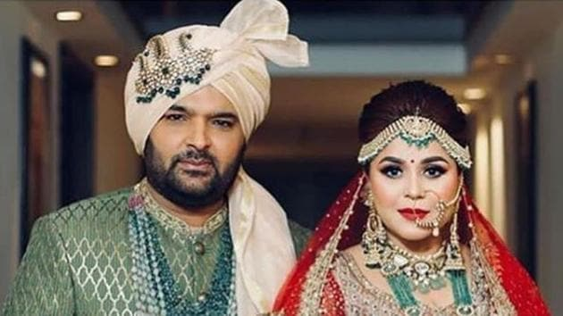 Kapil Sharma and Ginni Chatrath after their wedding in Jalandhar.(Viral Bhayani)
