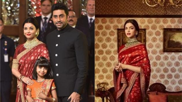 Aishwarya donned the stunning blood red saree to Isha Ambani's wedding today and the actor completely owned the look. Hair tied in a bun using gajra, the actor completed the look with a heavy gold neck piece and earrings. Deepika, on the other hand, wore the same saree in October, possibly for a Sabyasachi photo shoot.(Reuters/Instagram)