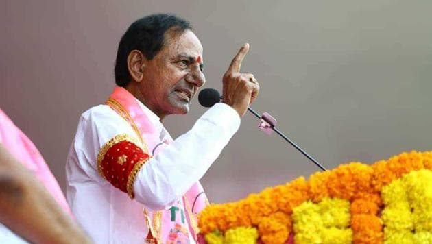 KCR took oath in Telugu, Ali did it in Urdu. The Cabinet will likely be expanded on December 18.(HT Photo)