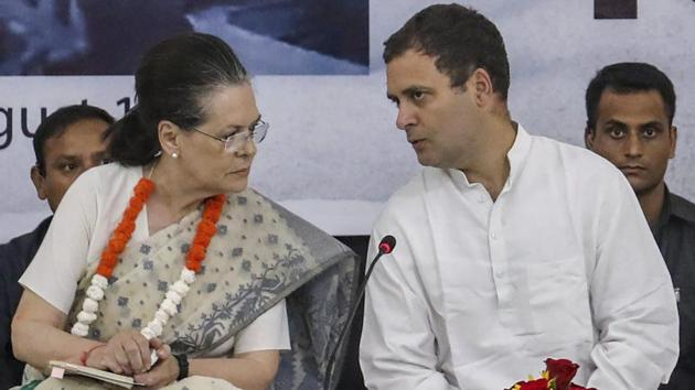 UPA chairperson Sonia Gandhi met Congress President Rahul Gandhi at his home on Thursday to discuss the chief ministers for Rajasthan, Madhya Pradesh and Chhattisgarh, the three states the party wrested from BJP in the recently-held assembly elections.(PTI file photo)