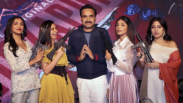 Bollywood actors Shriya Pilgaonkar, Rasika Dugal, Pankaj Tripathi, Sheeba Chadha and Shweta Tripathi pose for photos during the trailer launch of their upcoming series Mirzapur.(PTI)