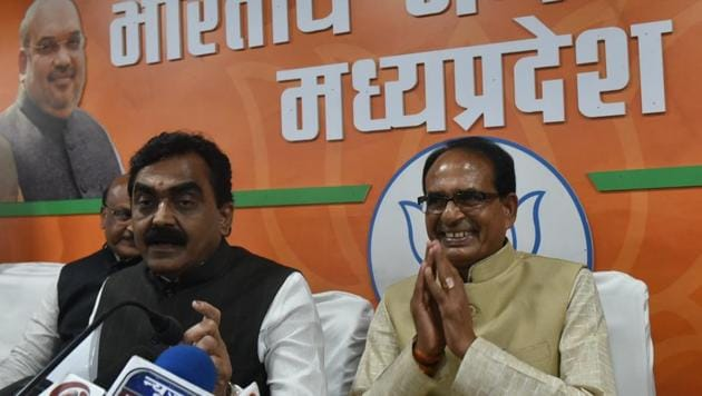 Bhopal, India - Dec. 12, 2018: Madhya Pradesh chief minister Shivraj Singh Chouhan addressing a press conference at state BJP office after his resignation in Bhopal, Madhya Pradesh, India, on Wednesday, December 12, 2018. (Photo by Mujeeb Faruqui/Hindustan Times)(HT Photo)