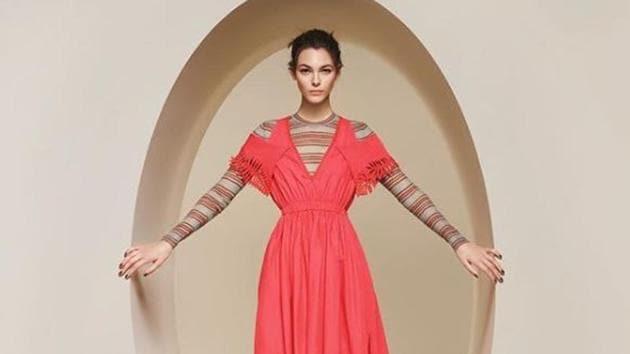 An off-shoulder dress in super soft knitwear with transparent stripes from Fendi Women's Spring/Summer 2018.(Fendi Instagram)