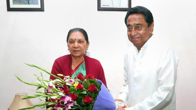 Congress leader Kamal Nath meets Madhya Pradesh Governor Anandiben Patel who invited him to form the new government in the state at Raj Bhawan in Bhopal on Friday.(PTI)
