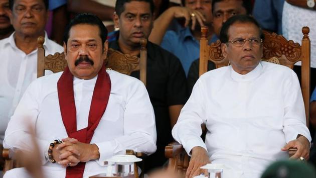 Sri Lanka's Prime Minister Mahinda Rajapaksa and President Maithripala Sirisena during a rally near Parliament in Colombo, Sri Lanka.(REUTERS)