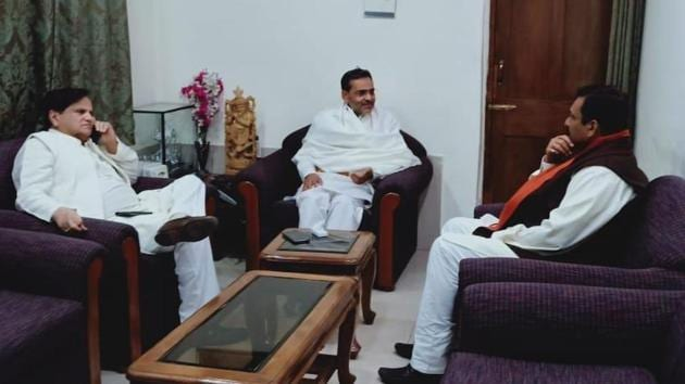 Congress leader Ahmed Patel with RLSP chief Upendra Kushwaha at the latter's residence.