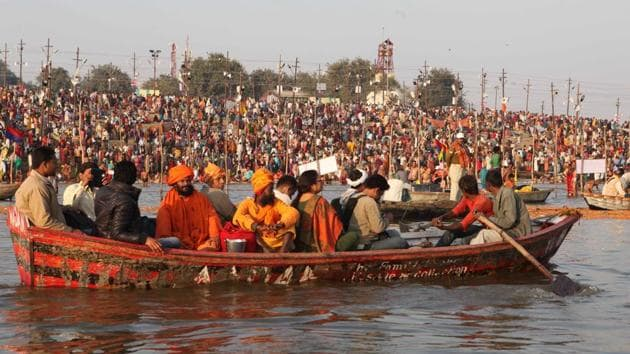 Kumbh Mela is known to be the largest congregation of religious pilgrims in the world and draws tens of millions of pilgrims over the course of approximately 55 auspicious days.(HT/File Photo)