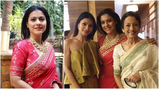 Kajol and her sister Tanishaa and her mother Tanuja at a wedding.(Instagram)