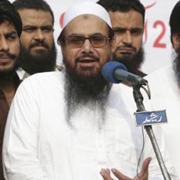 Hafiz Saeed, founder of Pakistani religious group Jamaat-ud-Dawa and Falah-e-Insaniat Foundation, during a rally in Lahore, Pakistan.(AP File Photo)