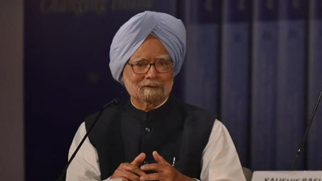 At the launch of 'Changing India' volume of six books by former PM Manmohan Singh at the IIC.(Vipin Kumar/Hindustan Times)