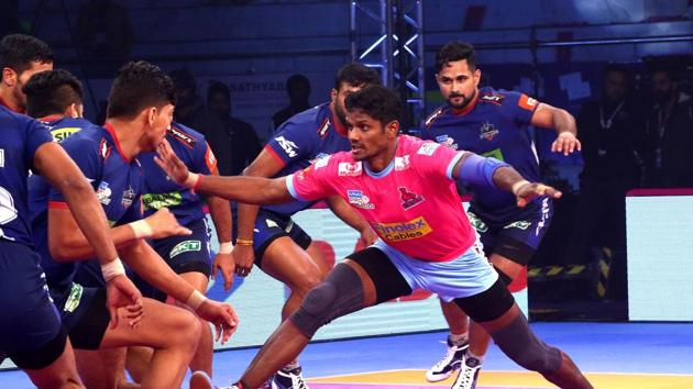 Haryana Steelers came back strongly in the second half but just fell short in the last five minutes of the match.(Pro Kabaddi League.)