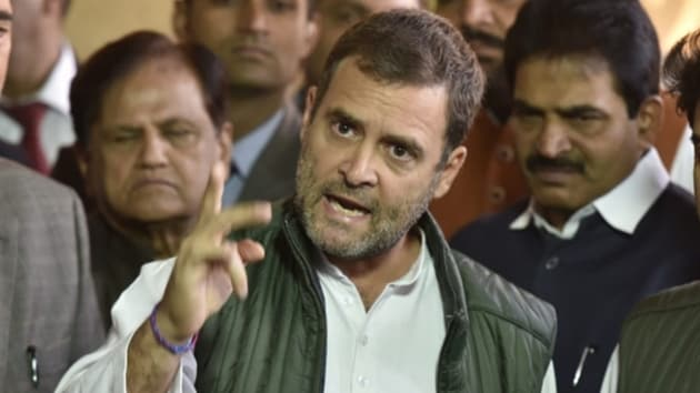 Rahul Gandhi said he had been highlighting the point that the main fight in india is between small traders, farmers and 15-20 wealthy businessmen.(HT Photo)