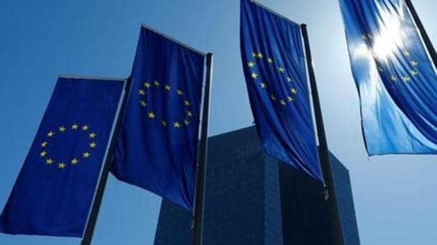 European Union flags flutter outside the headquarters of the European Central Bank (ECB) in Frankfurt, Germany on April 21, 2016.(Reuters)