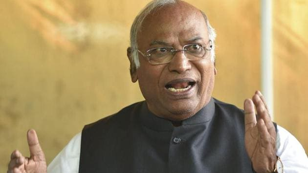 Congress Parliamentary Party leader Mallikarjun Kharge addresses the media during the Winter Session of Parliament, in New Delhi on December 14.(PTI Photo)
