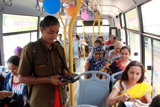 Ladies special PMPML bus service called Tejaswani was started on the occasion of Women's day (March 8) in Pune(HT/FILEPHOTO)