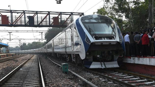A view of the first Made-in-India engine-less train - named Train 18 at Safdarjung station, during its trial run in New Delhi.(Mohd Zakir/HT FILE PHOTO)