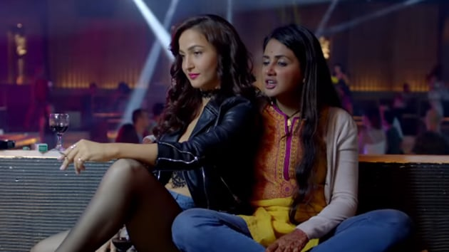 Parul Yadav and Elli AvRam in a still from Butterfly, the Kannada remake of Queen.