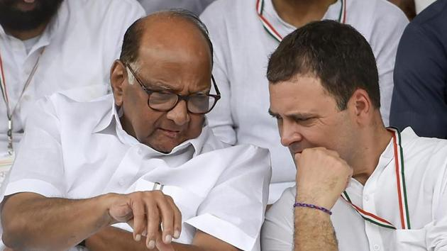 Congress president Rahul Gandhi and NCP chief Sharad Pawar will jointly address rally in Maharashtra for the first time.(PTI)