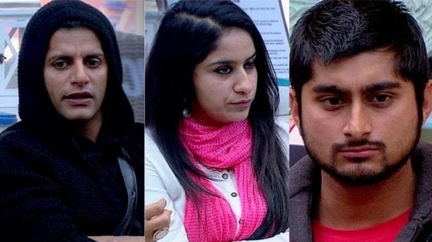 Bigg Boss 12 contestants Karanvir Bohra, Surbhi Rana, Deepak Thakur were sent to Kalkothri for their conduct.(Twitter)