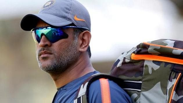 MS Dhoni at the nets during the series between India and England.(REUTERS)